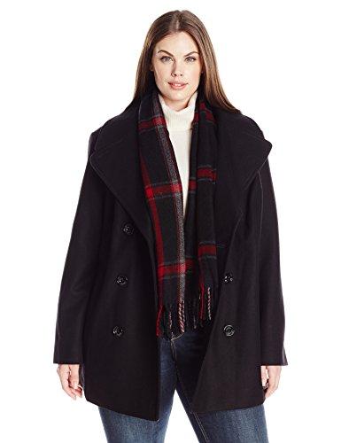 London Fog Damen Double Breasted Plus Size Peacoat with Scarf Caban-Jacke, schwarz, XX-Large Black Double-breasted Peacoat