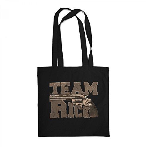 Fashionalarm Stoffbeutel - Team Rick | Beutel Baumwolltasche zur Serie T-W-D als Geschenk Idee für Fans | Dead Walking Grimes Colt Python The Saviors, Farbe:schwarz