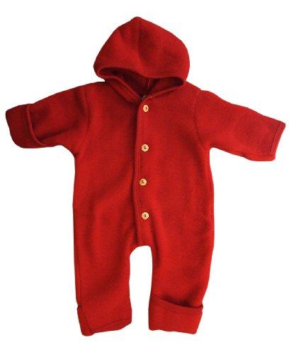Engel-Natur Baby Overall mit Kapuze aus Bio Schurwoll-Fleece, Kirschrot, Gr. 86/92 (Jacke 8 Jungen-größe Anzug)