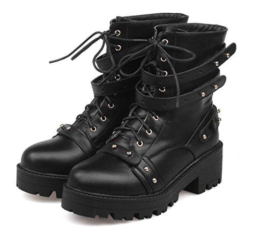 YE Damen High Heels Stiefeletten mit Plateau Bequeme Blockabsatz Schnürung und Schnallen Nieten Herbst Winterschuhe Schwarz