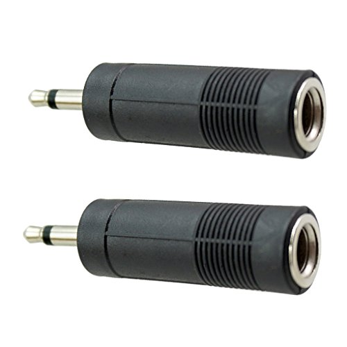 D DOLITY 2pcs Stereo Audio Musik Adapter 3,5mm Klinken Stecker auf 6.5mm Klinke Buchse Konverter Adapter Kopfhörer Jack - Schwarz -Single Track