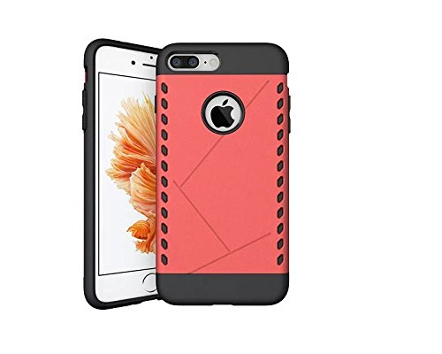 iPhone 7 Plus Coque,Lantier Art Style Design [Hard PC+silicone souple][Anti-Skid][antichoc][Thin Fit] Armure Heavy Duty double couche Housse de protection pour Apple iPhone 7 Plus Argent Red