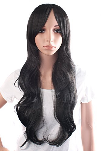 MapofBeauty 70cm/28 pulgada De las mujeres encantadoras y Sexy largo rizado peluca de la onda peluca (negro)