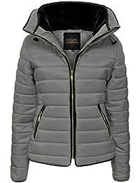 7e544cec7c4 Love My Fashions® - Chaqueta para mujer con capucha acolchada y cuello  ajustado de piel de burbujas
