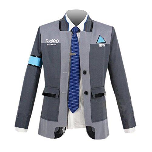 qingning Herren Detroit Become Cosplay Spiel Kostüme Uniform Mantel Hemd Krawatte Connor Marcus Spiel Bekleidung (Connor Kostüm)