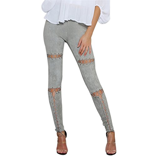 QIYUN.Z Frauen Hohlen Aus Cross-Bandage Wildleder Lace-Up Legging Skinny Hosen (Medium, Grau)