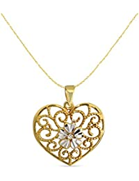 LeCalla's Gold Plated Heart Shape Filigiri With Diamond Cut Flower Pendant With Chain