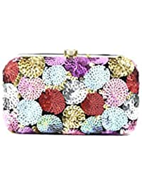 Coral Tree Multi Color Metal Frame Flower Sequence Work Women's Clutch