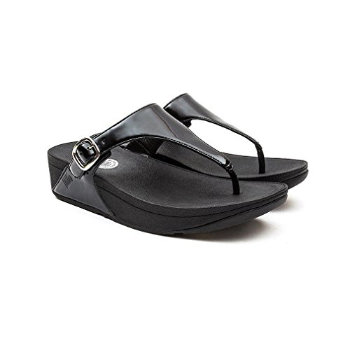 FitFlop The Skinny TM Patent, Tongs Femme, Noir BLACK PATN