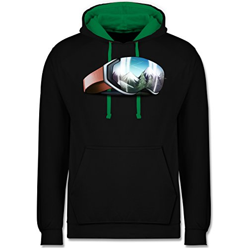 Kostüm Big Und Tall - Wintersport - Skibrille - L - Schwarz/Grün - JH003 - Kontrast Hoodie