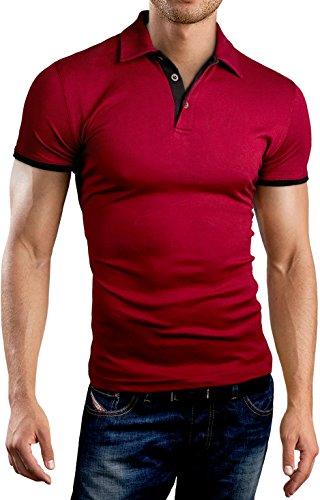 Grin&Bear Slim Fit Kontrast Polohemd Poloshirt Polo, Burgund, XL, GB160 -