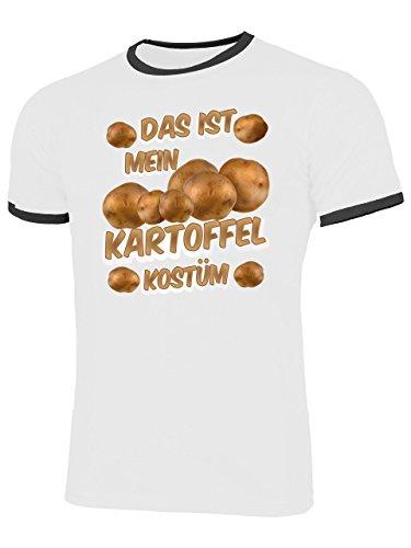 n Kartoffel Kostüm 5233 Herren Ringer T-Shirt (HR=Weiss/Schwarz) Gr. L (Kartoffel-halloween-kostüm)