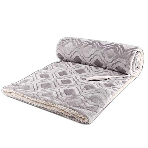 WMWZ Luxus Grey Soft Fuzzy Microfiber Electric Blanket Queen Size Dual Control Fleece Heated Electric Throw Blanket Mit 3 Einstellungen Gray 150X180cm,Gray,165 * 90Cm - König Matratze Beschützer