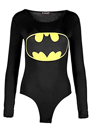 Womens Ladies Batman Superman Print Long Sleeve Round Neck Fitted