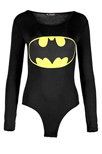 Damen Batman Superman Aufdruck Langärmlig Rundhals Dehnbar Angepasst Body Jersey Oberteil - Batman Schwarz, 40/42