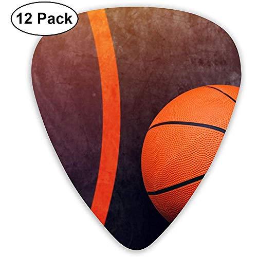 Gitarren-Plektren mit Basketballkugel-Muster Set 12 Ukulelen-Plektren, einschließlich Akustikgitarren-Plektren mit 0,46 mm, 0,71 mm und 0,96 mm