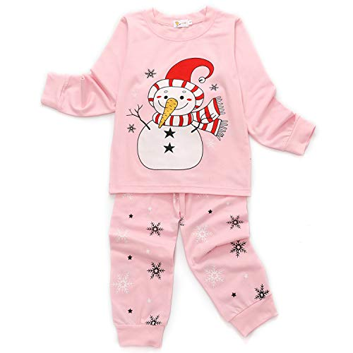 Little Hand Mädchen Weihnachten Schlafanzug Kind Baby Pajama Langarm Nachtwäsche Print Sleepwear Top Hose Set