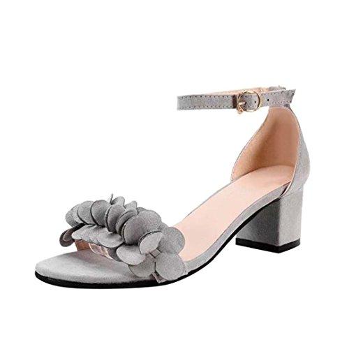Smrbeauty elegante sandali con tacco alto donna,estivi boemo scarpe con sandali donna , ragazze i fiori adornano il fermaglio sandali piatti da donna sandali (38, grigio)