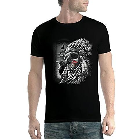 Crâne Tête de Mort Chef Indien Amérindien Homme T-shirt Noir