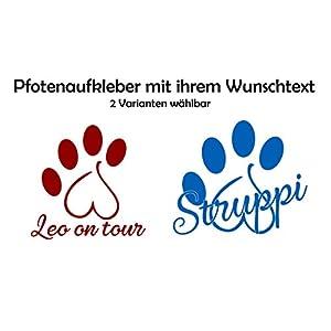 ***NEU Folienaufkleber-Sticker-Wandtattoo**** – Tier/Hunde Pfote HERZ und Ihrem WUNSCHTEXT – Größen u. Farbauswahl