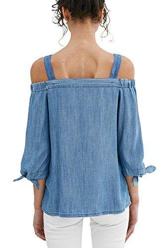 edc by Esprit, Camicia Donna Blu (Blue Medium Wash)