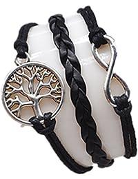 Original Tribe Infinito y árbol de la vida Pulsera de plata lindo del cordón del encanto de la pulsera Negro Cera Negro trenzado brazalete pulsera del cuero 2549r