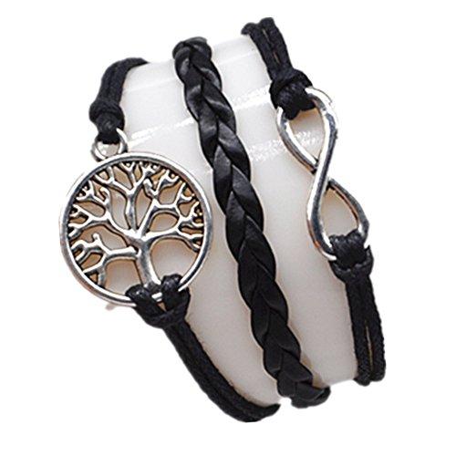 Original Tribe Infinito y árbol de la vida Pulsera de plata lindo del