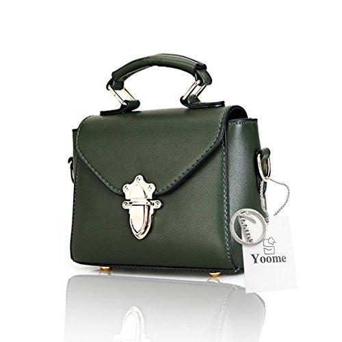 Yoome Tiny Flap Bag Nieten Retro Lock Wölbung Korean Taschen für Mädchen Top Griff Make-up Handtaschen - Grau Grün