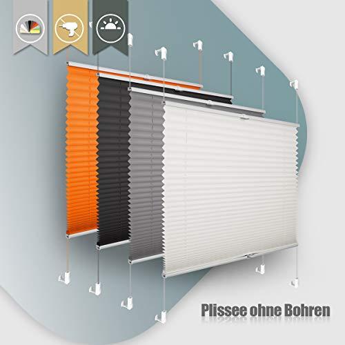 Plissee ohne Bohren klemmfix Jalousie Sonnenschutz Easyfix Faltrollo Crushed Optik Lichtdurchlässig Rollo für Fenster Tür Beige 35x100cm(BXH)
