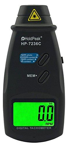 HoldPeak Laser Umdrehungsmesser HP-7236C, Tachometer, Drehzahlmesser, Messung mit Laserstrahl oder Kontaktmessung, schwarz
