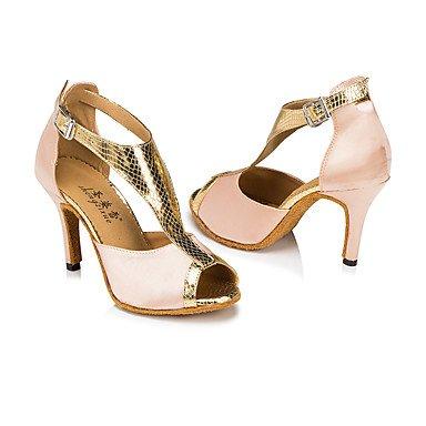 Scarpe da ballo-Personalizzabile-Da donna-Balli latino-americani / Moderno / Salsa-Tacco su misura-Raso / Di pelle-Nero / Marrone Red