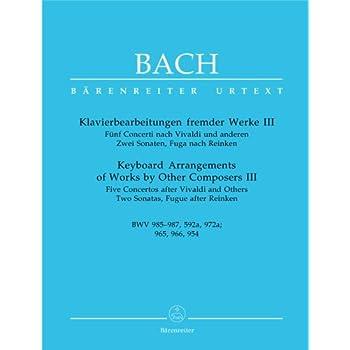 Concertos d'après des maîtres italiens Vol.3 - BVW 985-987, 592a, 972a, 965, 966, 954, pour Piano