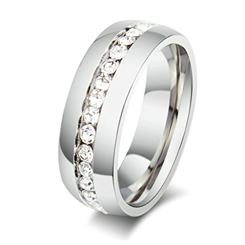 Aooaz Womens Stainless Steel Ring, Channel Set Eternity Ring Square All Around Ring Silver Ring Size R 1/2