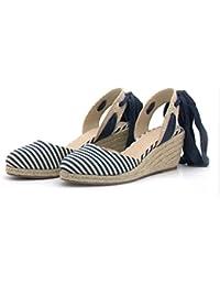 KPHY Chaussures Sexy De Chaussures De Corde En Chanvre Bouche De Poisson Sac 9Cm Épais Bas Pente Du Muffin Sandales Quarante Black