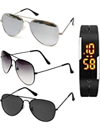 Sheomy Aviator Unisex Combo Of 3 Sunglasses with 3 Boxes & Watch(3In1-0010, Black)