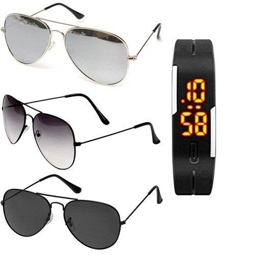 Sheomy UV Protection Aviator Unisex Sunglasses(3IN1-0043|Black) - Combo of 3