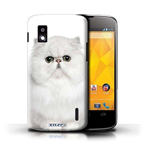 Kobalt® Imprimé Etui / Coque pour LG Nexus 4/E960 / Sibérien conception / Série Espèces de chats Persan Blanc