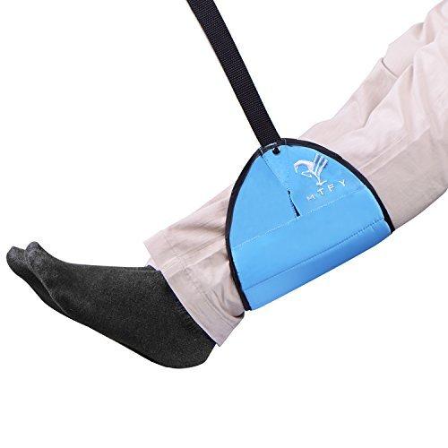 Fußstütze, mtfy Büro Sleepy Ride Fuß Hängematte Flugzeug Fuß, Rest Fuß Unterstützung unter Schreibtisch tragbar Fußstütze Extra langer verstellbarer Schulterriemen blau
