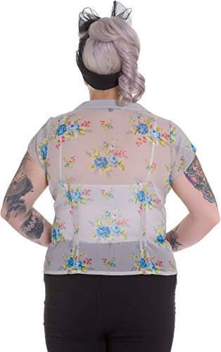 Hell Bunny ROSLYN Vintage Floral Chiffon Blüten Fifties BLUSE – Plus Size Rocka - 2