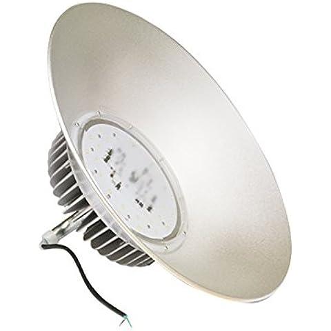 Lampadario industriale a LED, Lampadario rotondo a LED, Lampadario LED a sospensione per locali alti, Lampada per soffitto XL a LED per gli ambienti di produzione, Lampada a sospensione a LED per i loft - 80 W - illuminazione interna o esterna - grigio opaco - metallico - Temperatura di colore: 3000K bianco caldo