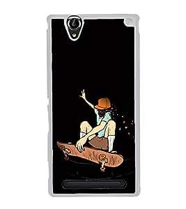 PrintVisa Designer Back Case Cover for Sony Xperia T2 Ultra :: Sony Xperia T2 Ultra Dual SIM D5322 :: Sony Xperia T2 Ultra XM50h (Skate Board Boy Flying Game Sports Graphical Design)