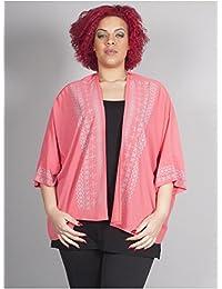 Edmond Boublil - Vêtement Femme Grande Taille Gilet rose à motifs blancs