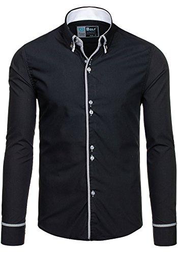 BOLF - Chemise casual – avec manches longues – BOLF 5811 – Homme Noir
