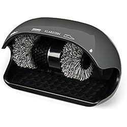 Klarstein ShoeButler • Limpiador de zapatos • Máquina limpiabotas • Limpiabotas automático • Abrillantador de zapatos • 120 W • Sistema de 3 cepillos • Protección contra sobrecargas • Apagado tras 15 segundos • Dispensador de betún • Gris