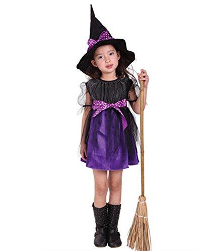 Halloween Kleidung Kostüm Kinder Baby Mädchen Aufführungen Party Kleid Hexen Hut (Baby Link Muster Kostüm)
