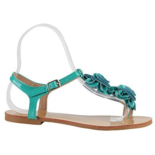Damen Dianetten | Blumen Sandalen Zehentrenner | Sommer Schuhe Flats | Beach Zierperlen Grün Lack