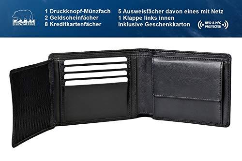 Brown Bear Geldbörse Herren Leder schwarz 8005 D bk - 3