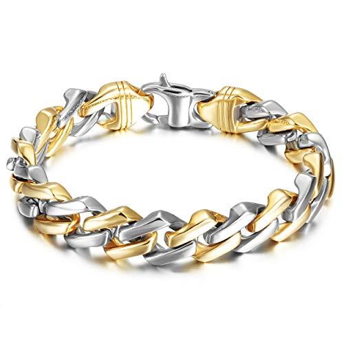 WISTIC Armband Männer Silber 925 Kette Herren armreif Gold Edelstahl schmuck Schwarz Armkette Panzerkette für Männer Jungen Kettenarmband inkl männer