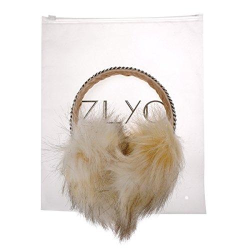 ZLYC cache-oreilles pour femmes en fourrure synthétique avec chaîne de tête ajoutée à la main, earmuffs, earwarmer Beige