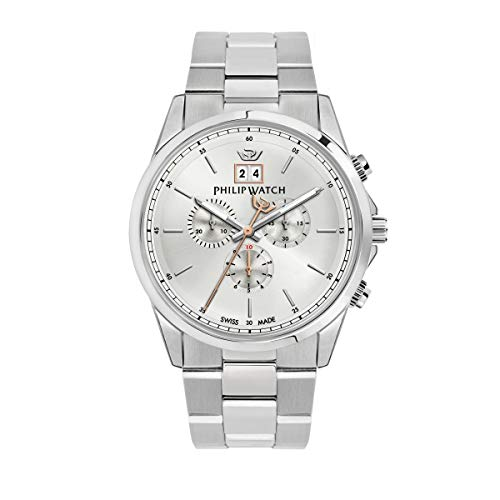 Philip Watch Men's Watch, Capetown Collection, Quartz Movement and Chronograph with Big Date, Equipped with a Stainless Steel Bracelet - R8273612003